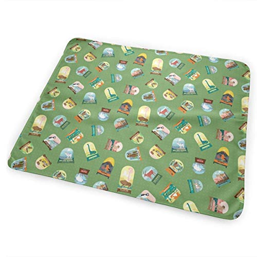 Kotdeqay National Parks Snowdomes Small Scatter in Forest Green Portable Changing Pad, Machine Washable, Chic Cushioned Change Station for Baby, Infant, and Newborn. - Park Station