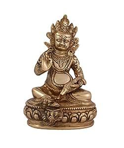 Arihant Craft Ethnic Decor God Kuber Idol Hand Work – 19 cm (Brass, Gold)