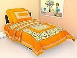 #4: Ubania Collection Rajasthani Print 140 TC Cotton Single Bedsheet with 1 Pillow Cover - Orange