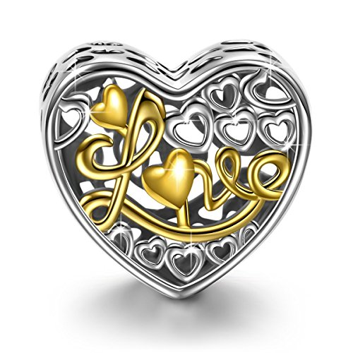 NinaQueen Regalo de Amor Abalorio de mujer de plata de ley Charms beads fit Pandora pulseras