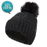 GLOUE Winter Strickmütze Damen warm Mütze mit Bommel Pompon (schwarz)