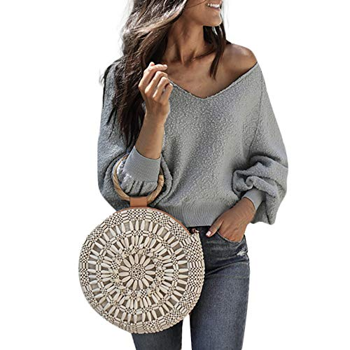 Resplend_langarmshirt,Mode Frauen Samt Langarm Pullover Bluse Laterne Hülse Einfarbig V-Ausschnitt Langer Ärmel Oberteile