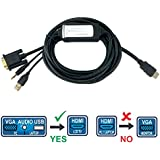 6 FT VGA TO HDMI Converter Cable, Connect Old PC-Laptop To HDMI Monitor-TV, VGA + 3.5mm Stereo Audio + USB (Power) Male To HDMI Male Converter Cable, Full HD 1080P