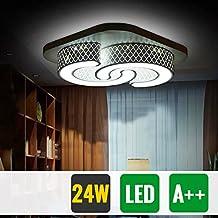 HG® Modern Esszimmer Lampe 24W Kaltweiß Quadratisch Küchen Decke  Beleuchtung 265V Schwarz Schlafzimmerleuchte Flur Leuchte