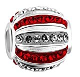 Nenalina Crystal Bead weiß/rot mit Swarovski Elementen in 925 Sterling Silber, auch für Pandora Beads Armbänder, 718069-051