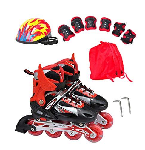 GUOCU Verstellbar Inliner für Kinder, Leucht Inline Skates Rollschuhe für Damen/Herren,Rot,L (8 Flash Wheels)