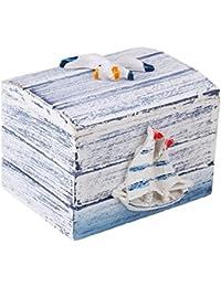 Caja deco pequeña náutica Joyería de madera estilo mediterráneo Almacenamiento tesoro Playa tema Souvenir con diseño