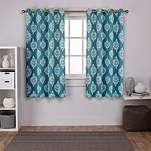 Exclusive Home Curtains Medallion Woven Blackout Grommet Top Panel Pair, Teal, 52x63, 2 Piece