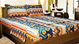Snuggle 100% Cotton Artistic Print Styled Double Bed Sheet with 2 Pillow Cove...