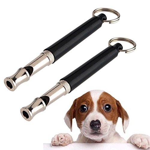 oshide 2pcs Hundepfeife Hochfrequenzpfeife Training Pfeife Ultraschall Verstellbar Ton Schlüsselanhänger für Hunde Welpe