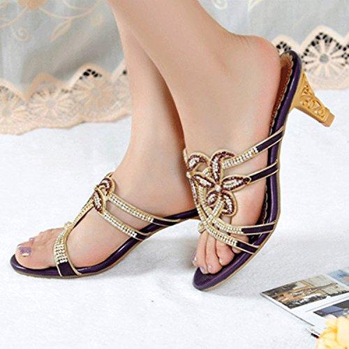 ZYUSHIZ Synthetischer Diamant Sommer Beach Sandalen Hausschuhe stilvolle Koreanische Version Frau Elegante 39EU