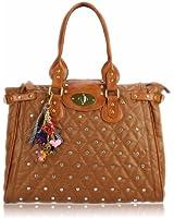 Damen Einkaufstasche Diamante Designer Damen Handtasche - Braun - KCMODE