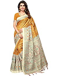 Fragrance Trendz Khadi Silk With Tessals Printed Sarees With Blouse Piece.