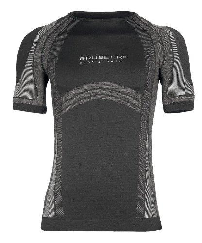 Brubeck Funktionsshirt kurz Netzärmel Herren - schwarz (DRY Bodyguard, Funktionsunterwäsche, Laufbekleidung, Skiunterwäsche, nahtlos)