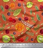 Soimoi Orange Baumwolle Batist Stoff Blätter, Kiwi &