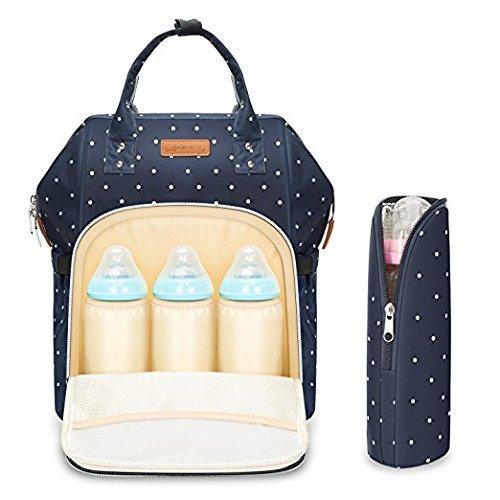 Zaino mamma neonato fasciatoio bambino impermeabile borsa nappy stoffa oxford grande capacità 55l con materassino fasciatoio, 3 tasche isolanti bottiglia per viaggiare mamma papà blu scuro