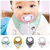6er Baby Kleinkinder Dreieckstuch Lätzchen Spucktuch Halstücher mit Schnullerkette und