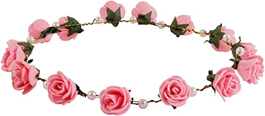 Style Tweak Fabric Floral and Pearl Tiara Crown for Women(Pink)