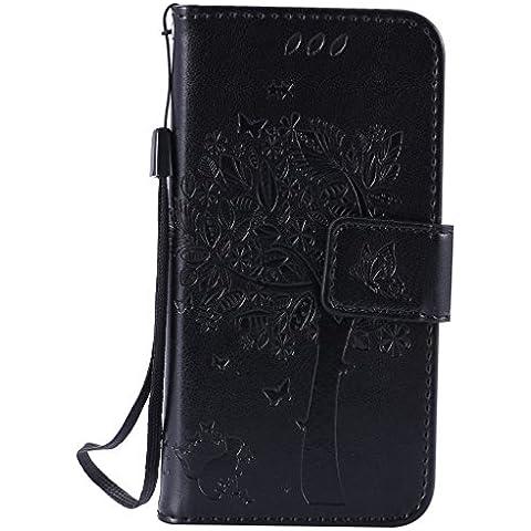 SZYT Handyhülle Handy-Smartphone Hülle Tasche für Apple iPhone 5 / 5S / SE / 5Se, 4.0 Zoll, Impressum Muster Katze und Baum mit schwarzem Griff Schwarz