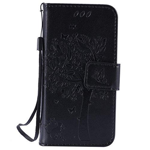 iPhone 5s / iPhone se / iPhone 5 Hülle,MOONESS Stand Hülle Schutzhülle PU Leder Flip Tasche Case mit Karte Halter und Magnetisch Flip Bumper Ledertasche(Grün) Schwarz