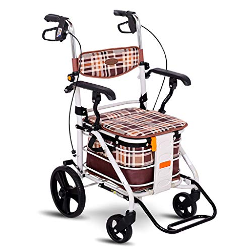 Falten Warenkorb Speichern (Rollatoren Ältere Walker Old Trolley Kann Sitzen Tragbare Falten Warenkorb Krücken Hand Push Rehabilitation Übung Walking Car (Color : Brown, Size : 56 * 25 * 88cm))