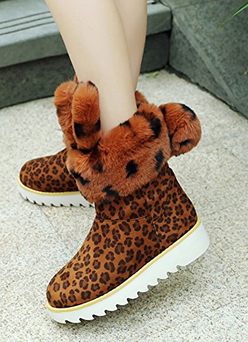 Aisun Femme Mignon Chaussures de Neige Cadeaux Bottines Jaune Léopard