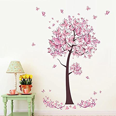 Indexp Sweet Romance High Heels Butterfly Flower Fairy Harmony Bedroom Living Room Walls Stickers (Pink /