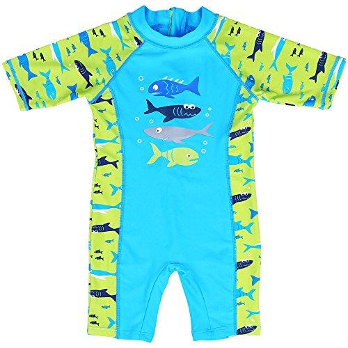Huanique Badeanzug für Jungen Trikot-Kombination UV 2 Farben , blue léger, 6-7Y(Tag No.116/122)