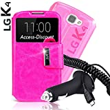- Discount Schutzhülle LG K4Schutzhülle Schutztasche Schutzhülle Cover mit Sichtfenster View Rosa + KFZ-Ladegerät für Smartphone LG K 4K120e k130e 3g LTE 4G