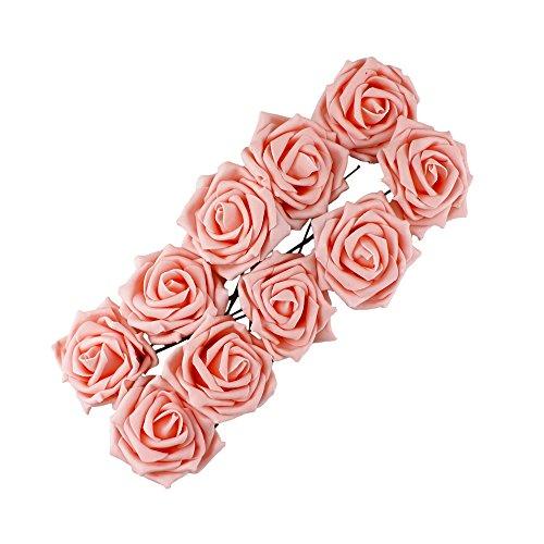 (funie Beauty Bridal Bouquet Rose Flower Head Party Hochzeit Brautjungfer Dekoration Blumenstrauß, Latex, champagnerfarben, Einheitsgröße)