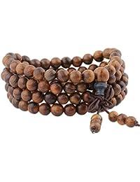 mookaitedecor 108 Mala Bracelet Perles de Prière en Bois Yoga Collier pour Homme Femme