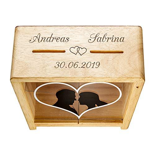 Casa Vivente - Spardose zur Hochzeit für Sie & Ihn - Personalisiert mit Namen Und Datum – Herzen – Spardose für Eheleute – Geldgeschenke zur Hochzeit für das Brautpaar – Geldgeschenk Box