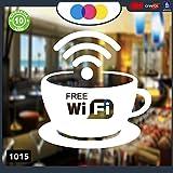 """Aufkleber """"FreeWi-Fi"""", Weiß, für Clubs, Bars, Büros, Fenster, Läden, Restaurants, Code 1015"""