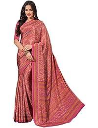 Salwar Studio Women's Pink Italian Creape Floral Printed Saree With Blouse Piece
