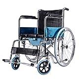 MinMin Rollstuhl - Faltbarer Old Man Trolley Tragbarer Multifunktionslederkissen Old Man Scooter mit Multifunktions-WC Medizinische Ausrüstung -