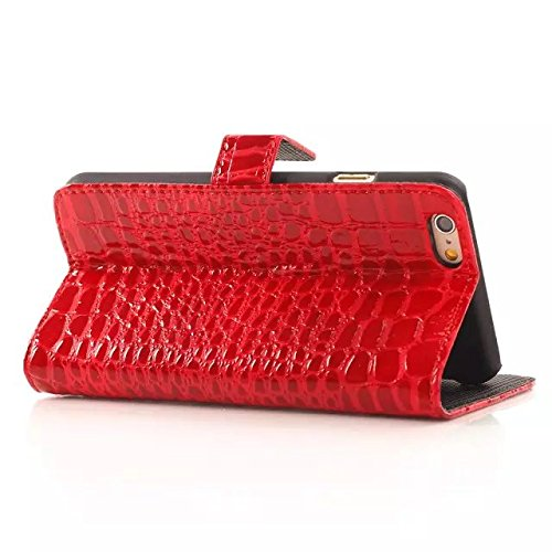 iPhone Case Cover krokodil - leder - fall für brieftasche muster oberfläche stehen für iphone6 65 ( Color : Purple , Size : Iphone6 6s ) Red