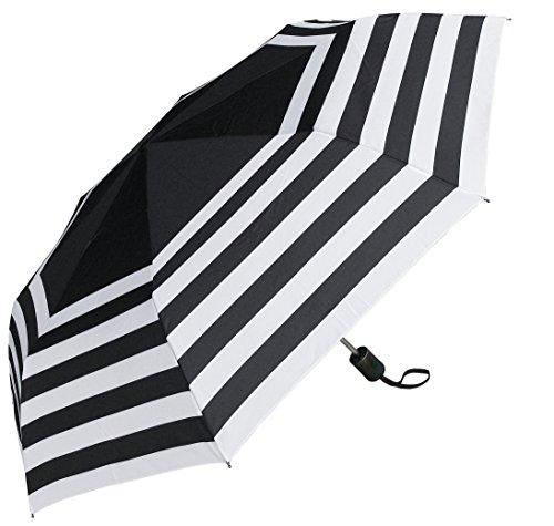 RainStoppers W033öffnen Auto Schließen Deluxe gestreift Mini Arc Regenschirm, schwarz/weiß, 111,8cm