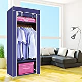 #5: Foldable One Single Shelf Clothes Closet Wardrobe Non-woven Fabric Multipurpose Storage Organizer Cupboard Mall Single Canvas Wardrobe Cupboard Clothes Hanging Rail Storage Clothes Storage Organiser 160cm x 69cm x 43cm Beige (Cyan1)