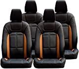#10: Khushal Leatherite Car Seat Covers Premium Quality Designer Front and Back Seat Cover Set For Hyundai i10 Grand Black/Orange with free Steering