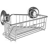 Duschkorb für Ecke in Dusche und Badezimmer mit extra starkem Saugnapf für besten Halt - Einfache Installation mit Vakuum Saugnapf