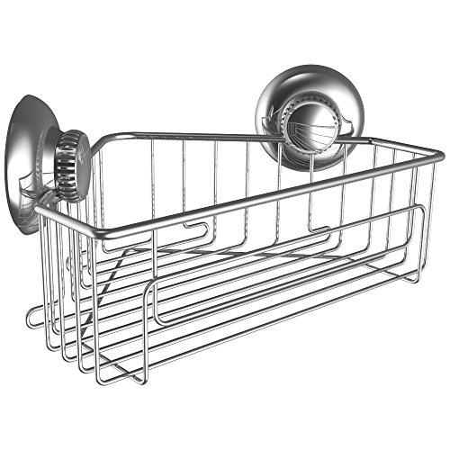 G-Loc Corner Shower Shelf Caddy Organizer w Vacuum Suction Cups No Hooks Needed - Stainless Steel Shampoo Conditioner Holder