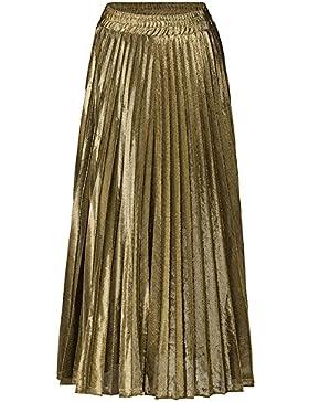 BOZEVON Faldas Plisadas de las Mujeres Cintura Alta Cintura Elástica Faldas Largas