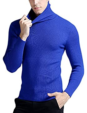 PDFGO Jerseys Para Hombres Prendas De Punto Perchero Cárdigan Otoño / Invierno Cuello Alto Jersey Para Hombres...
