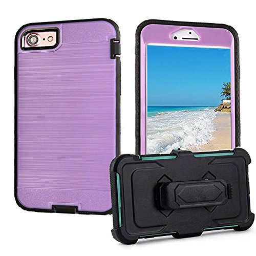 iPhone 7 Belt Clip Holster Case, SOUNDMAE [Heavy Duty] Case, Hybrid Dual Layer [Shockproof] Armor Defender Protective Case with Belt Clip Kickstand Holster for iPhone 7 [Blue] Light Purple