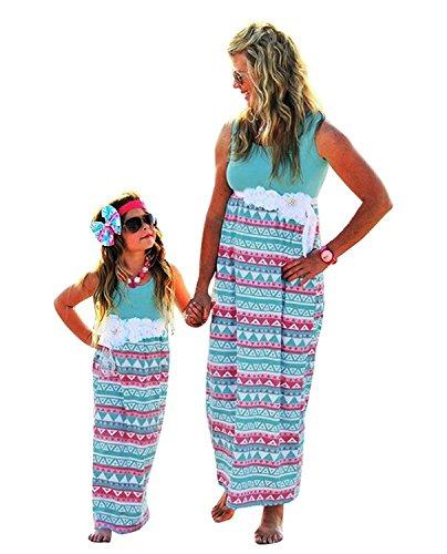 Minetom Elegante O-Collo Senza Maniche Vestito Per Madre E Figlia Sailor Striscia Impunture Vestire Casual Genitore-Bambino Abito Blu