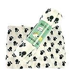 Coperta per cani Coperta in Pile Nero Bianco con zampe di stampa 100x 70cm 2pezzi