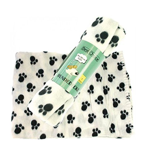 Hundedecke Fleecedecke Schwarz Weiß mit Pfoten-Druck 100 x 70 cm 2 Stück Set -