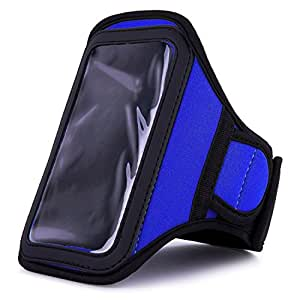VanGoddy Blue Neoprene Workout Sweat Resistant Exercise Armband for HTC Desire S