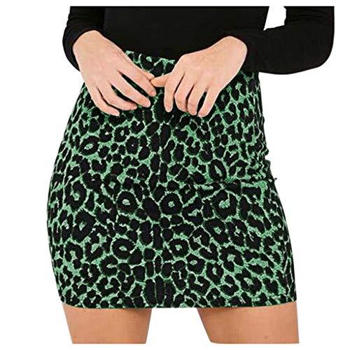 Sylar Mini Falda para Mujer Faldas Cortas Mujer Verano Slim Fit Minifalda Ajustada Lápiz Mujer Falda Corta De Cintura Alta Estampado De Leopardo L