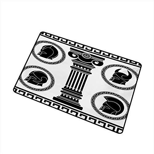 Kinhevao Toga Party Inlet Outdoor Fußmatte Gemusterte runde Rahmen mit antikem Zubehör Spartan Classic Kostüm Fang Staub Schnee und Schlamm, schwarz und weiß Badematte